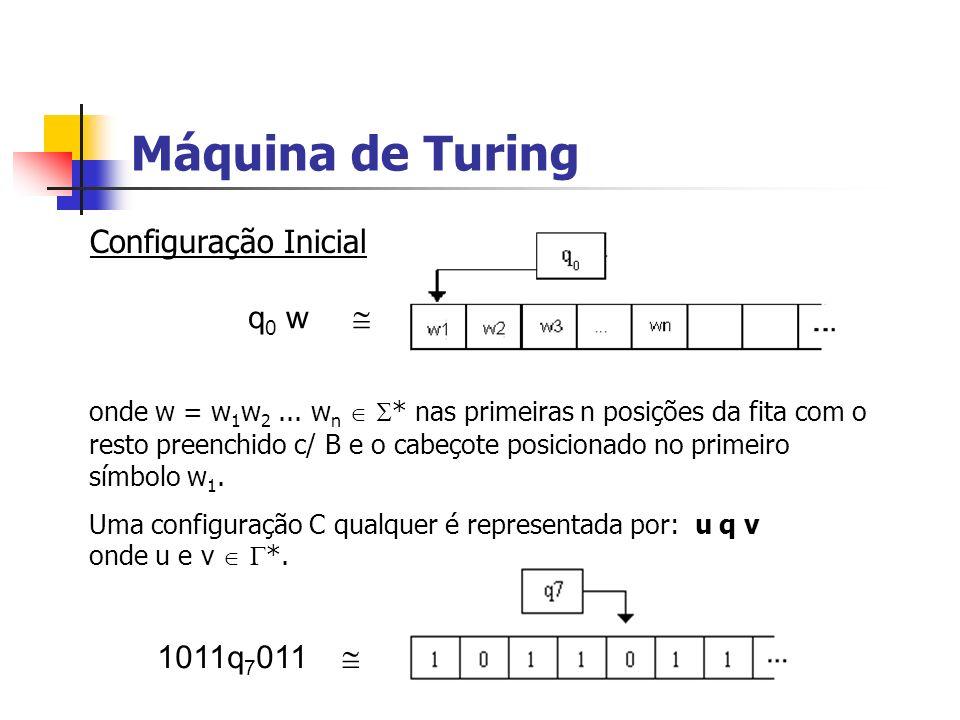 Máquina de Turing Configuração Inicial q0 w  1011q7011 