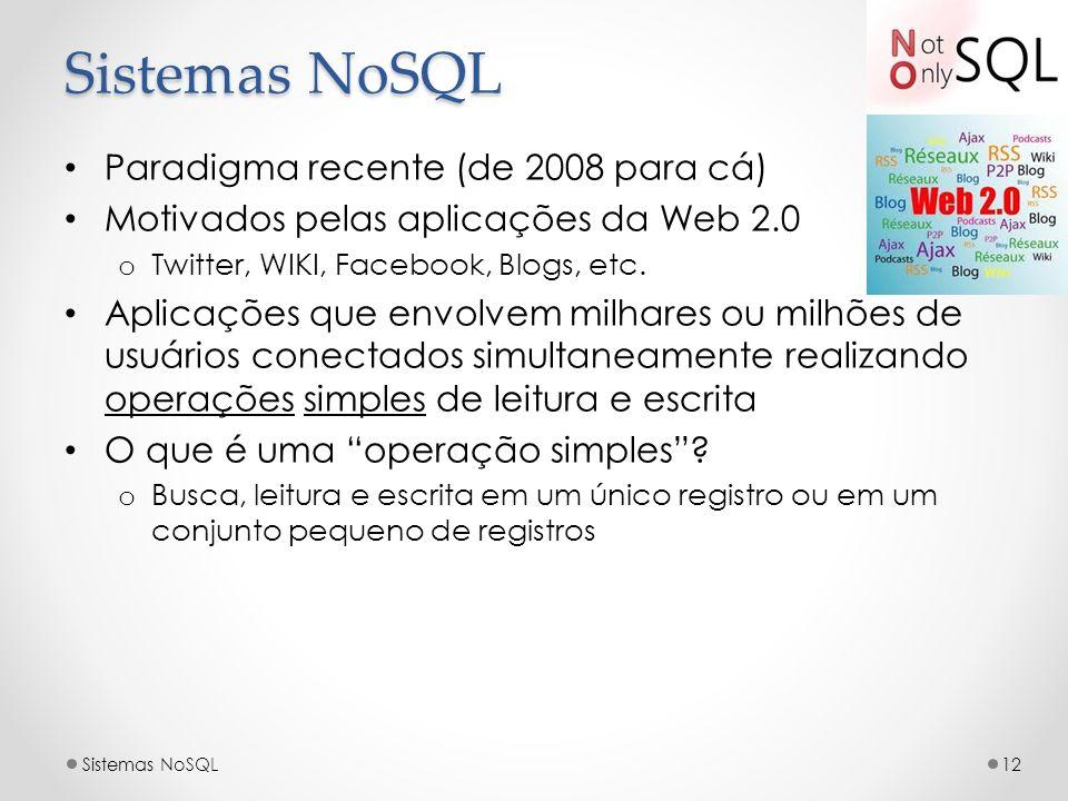 Sistemas NoSQL Paradigma recente (de 2008 para cá)