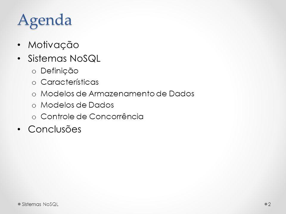 Agenda Motivação Sistemas NoSQL Conclusões Definição Características