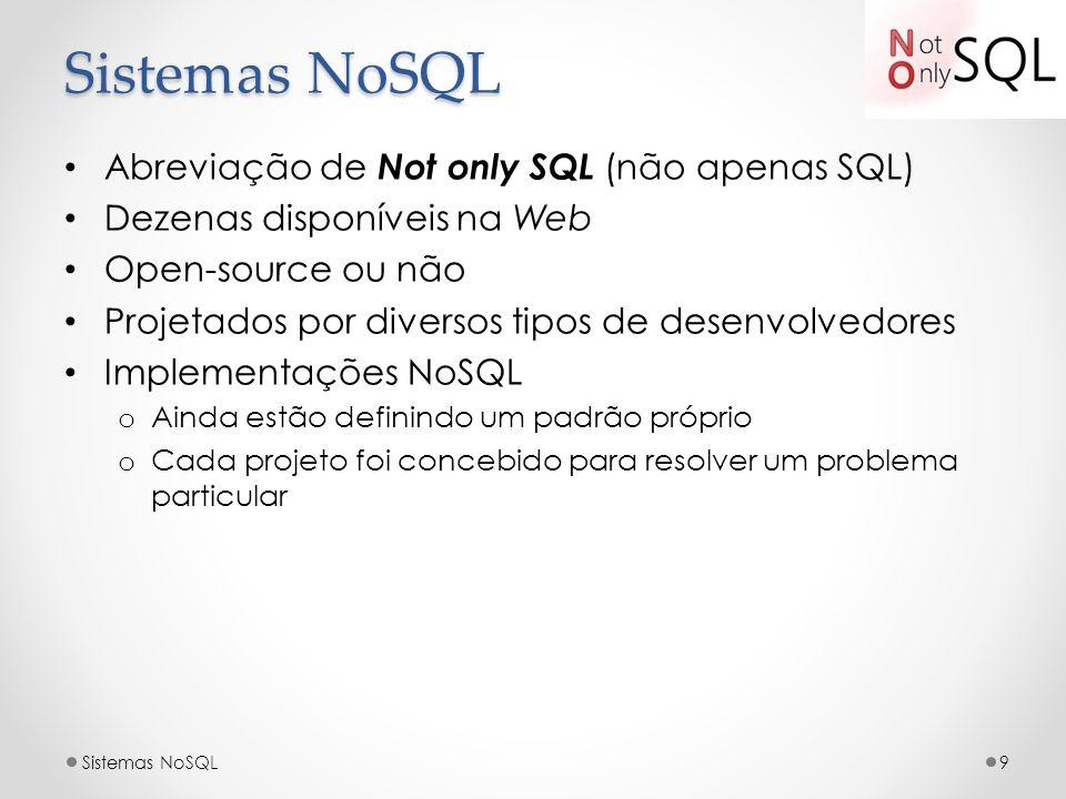 Sistemas NoSQL Abreviação de Not only SQL (não apenas SQL)