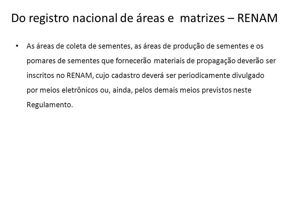 Do registro nacional de áreas e matrizes – RENAM