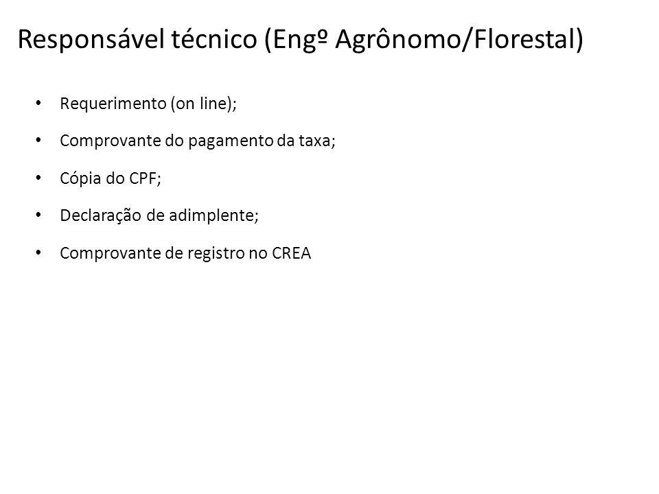 Responsável técnico (Engº Agrônomo/Florestal)