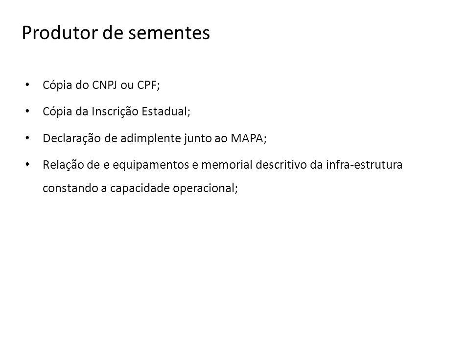 Produtor de sementes Cópia do CNPJ ou CPF;