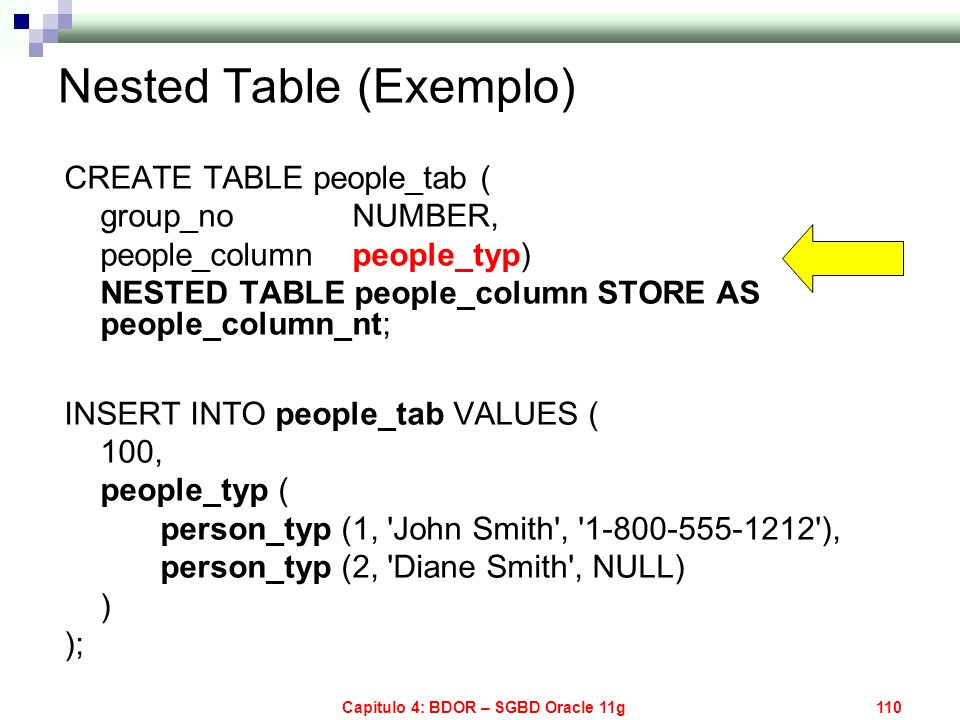 Nested Table (Exemplo)