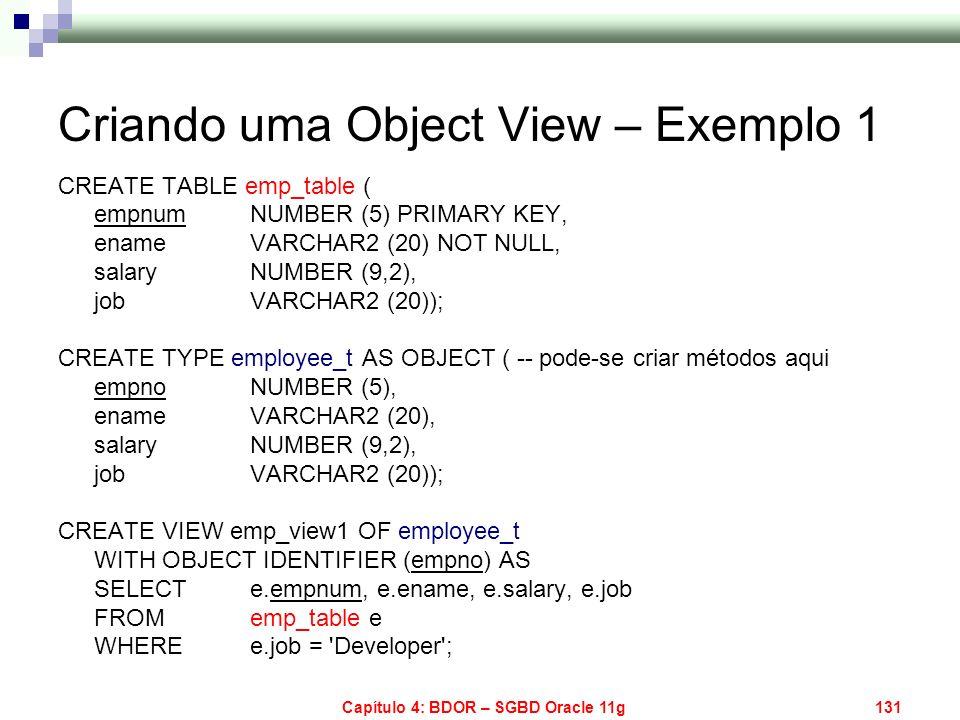 Criando uma Object View – Exemplo 1