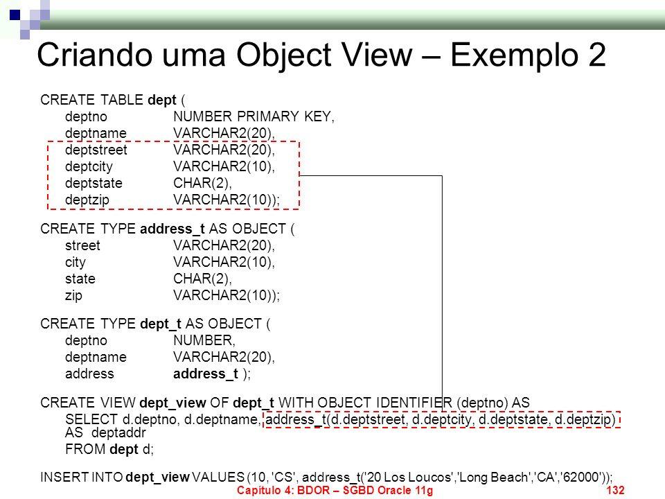 Criando uma Object View – Exemplo 2