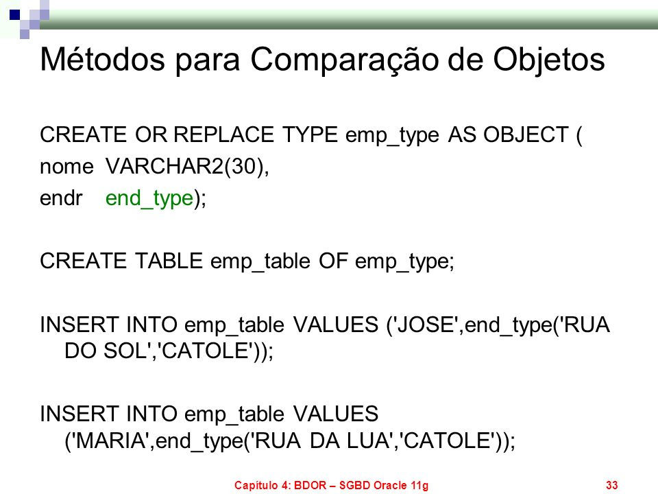 Métodos para Comparação de Objetos