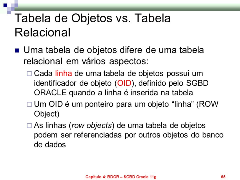 Tabela de Objetos vs. Tabela Relacional