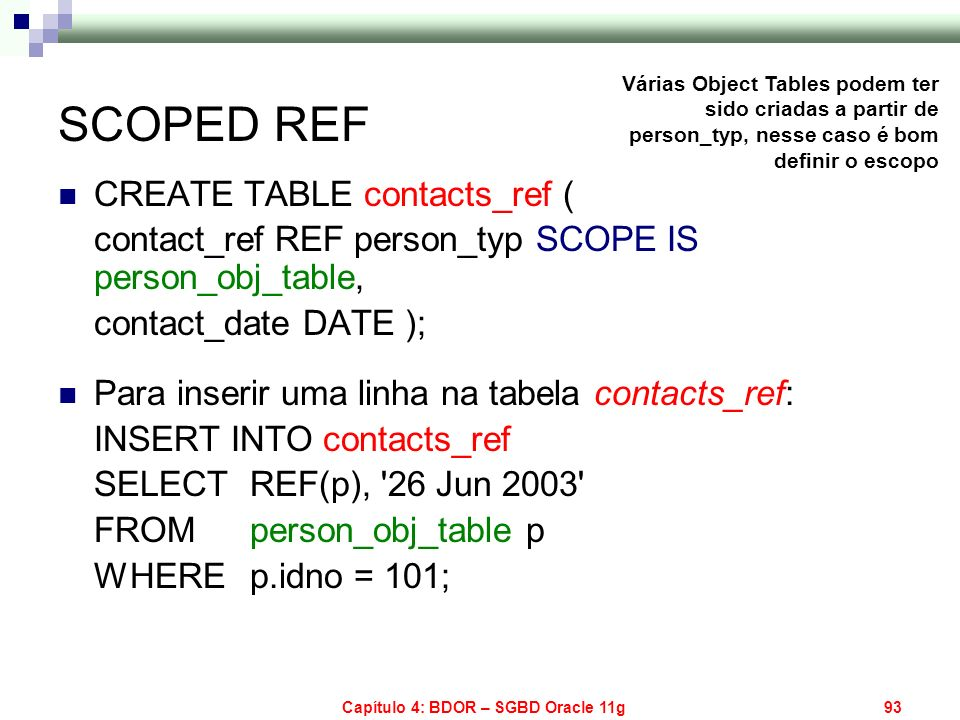 Capítulo 4: BDOR – SGBD Oracle 11g