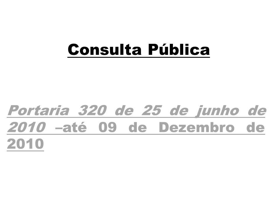 Consulta Pública Portaria 320 de 25 de junho de 2010 –até 09 de Dezembro de 2010