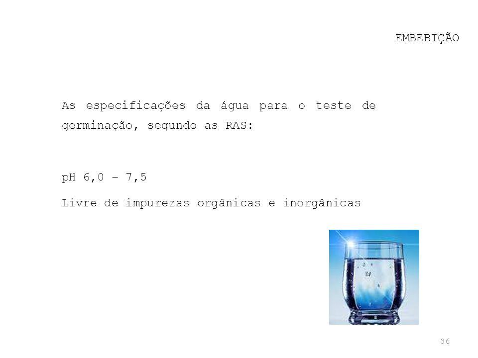 EMBEBIÇÃO As especificações da água para o teste de germinação, segundo as RAS: pH 6,0 – 7,5.