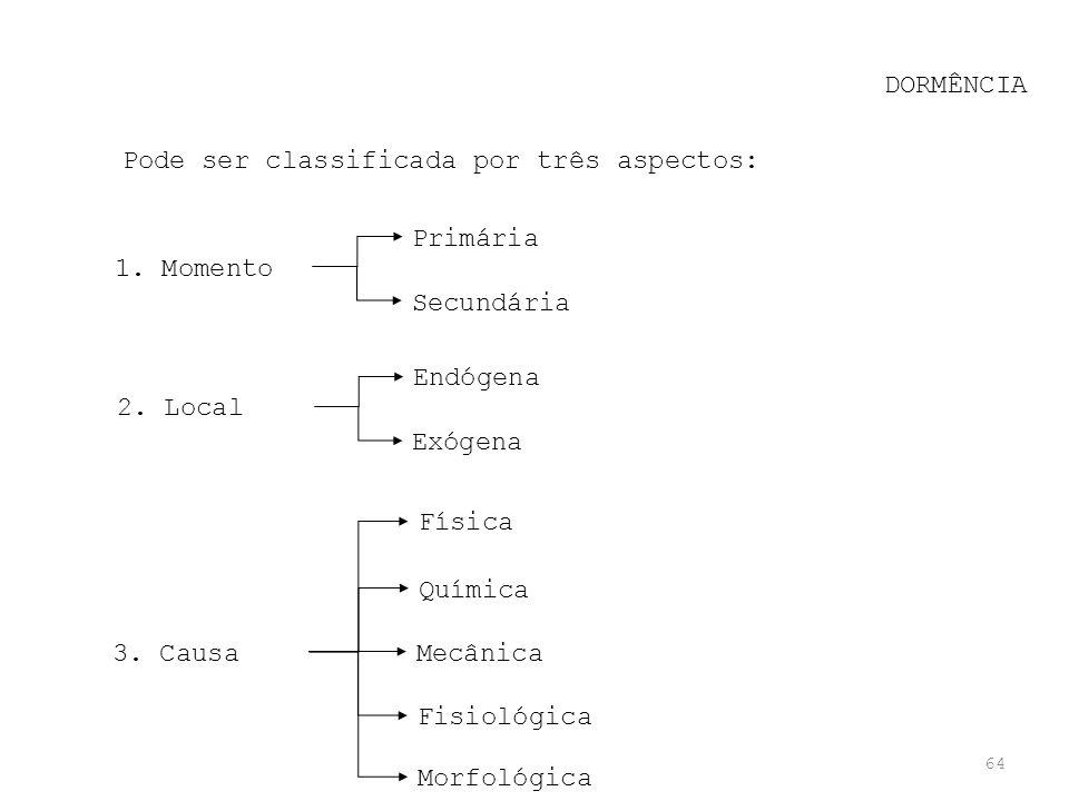 DORMÊNCIA Pode ser classificada por três aspectos: Primária. Secundária. 1. Momento. Endógena. Exógena.