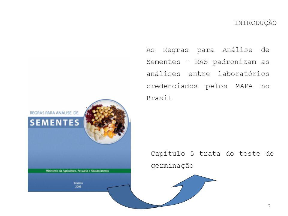 INTRODUÇÃO As Regras para Análise de Sementes – RAS padronizam as análises entre laboratórios credenciados pelos MAPA no Brasil.