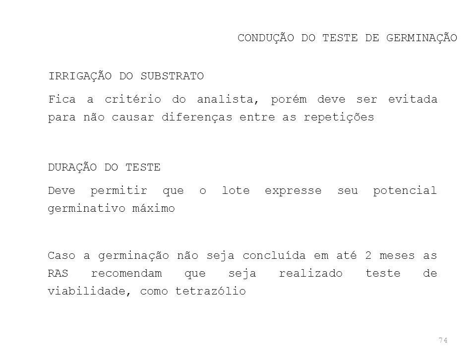 CONDUÇÃO DO TESTE DE GERMINAÇÃO
