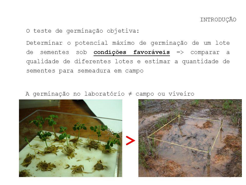 > INTRODUÇÃO O teste de germinação objetiva: