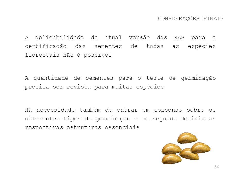 CONSDERAÇÕES FINAIS A aplicabilidade da atual versão das RAS para a certificação das sementes de todas as espécies florestais não é possível.