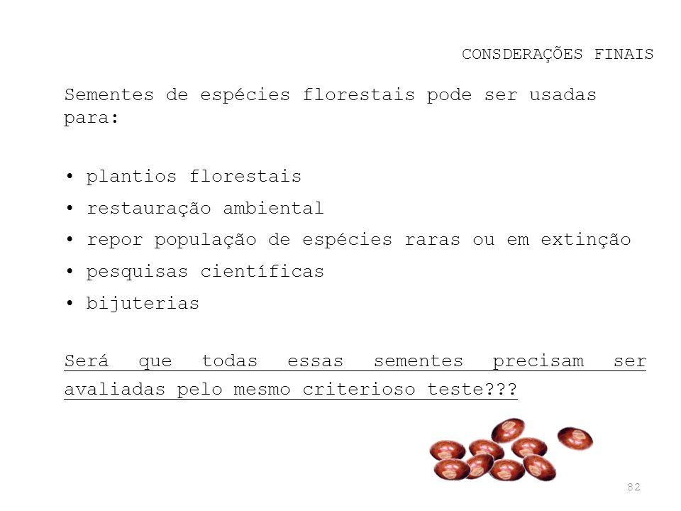 Sementes de espécies florestais pode ser usadas para: