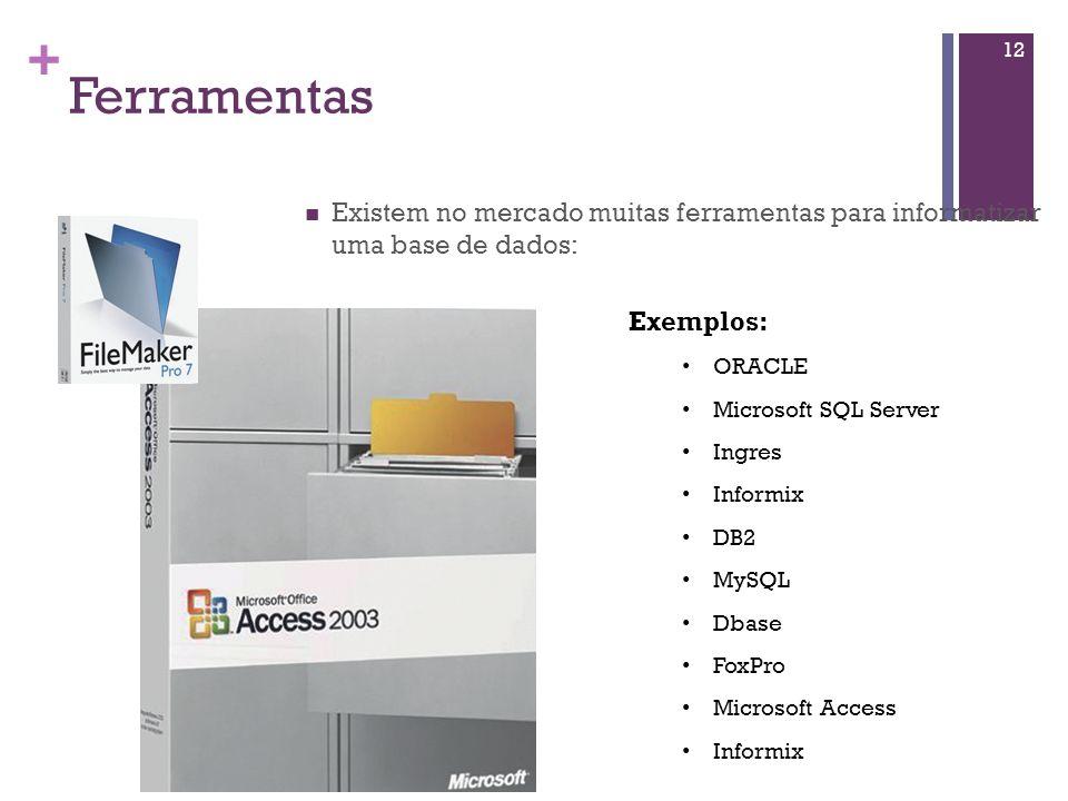 Ferramentas Existem no mercado muitas ferramentas para informatizar uma base de dados: Exemplos: ORACLE.