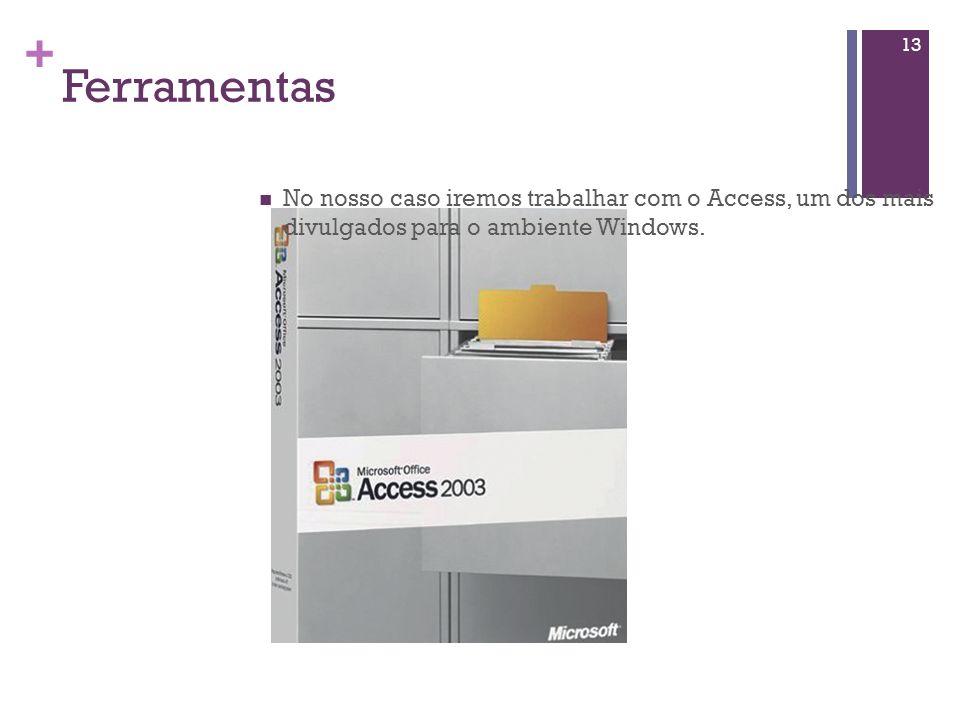 Ferramentas No nosso caso iremos trabalhar com o Access, um dos mais divulgados para o ambiente Windows.