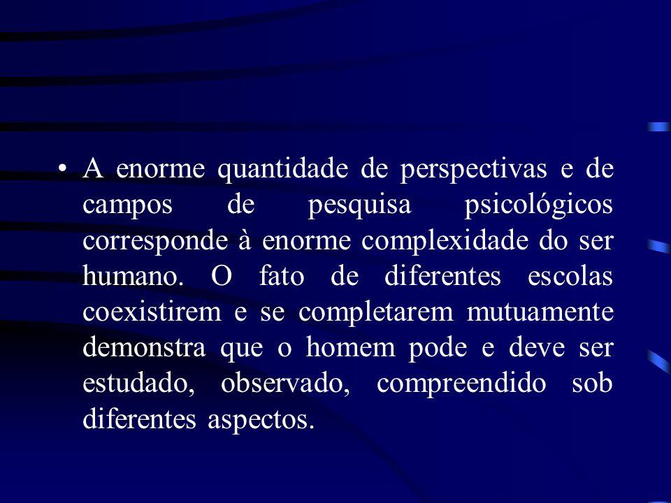 A enorme quantidade de perspectivas e de campos de pesquisa psicológicos corresponde à enorme complexidade do ser humano.