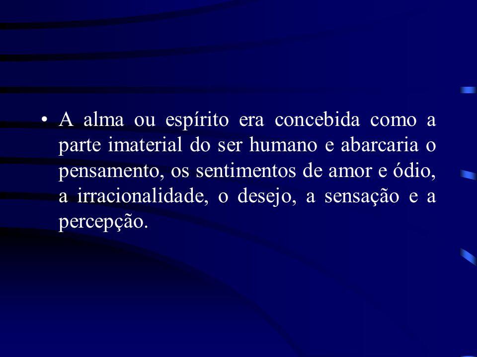 A alma ou espírito era concebida como a parte imaterial do ser humano e abarcaria o pensamento, os sentimentos de amor e ódio, a irracionalidade, o desejo, a sensação e a percepção.