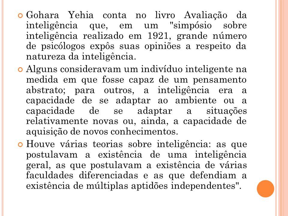 Gohara Yehia conta no livro Avaliação da inteligência que, em um simpósio sobre inteligência realizado em 1921, grande número de psicólogos expôs suas opiniões a respeito da natureza da inteligência.
