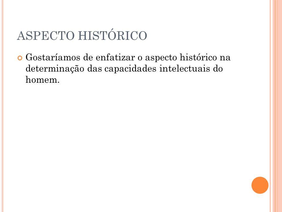 ASPECTO HISTÓRICO Gostaríamos de enfatizar o aspecto histórico na determinação das capacidades intelectuais do homem.