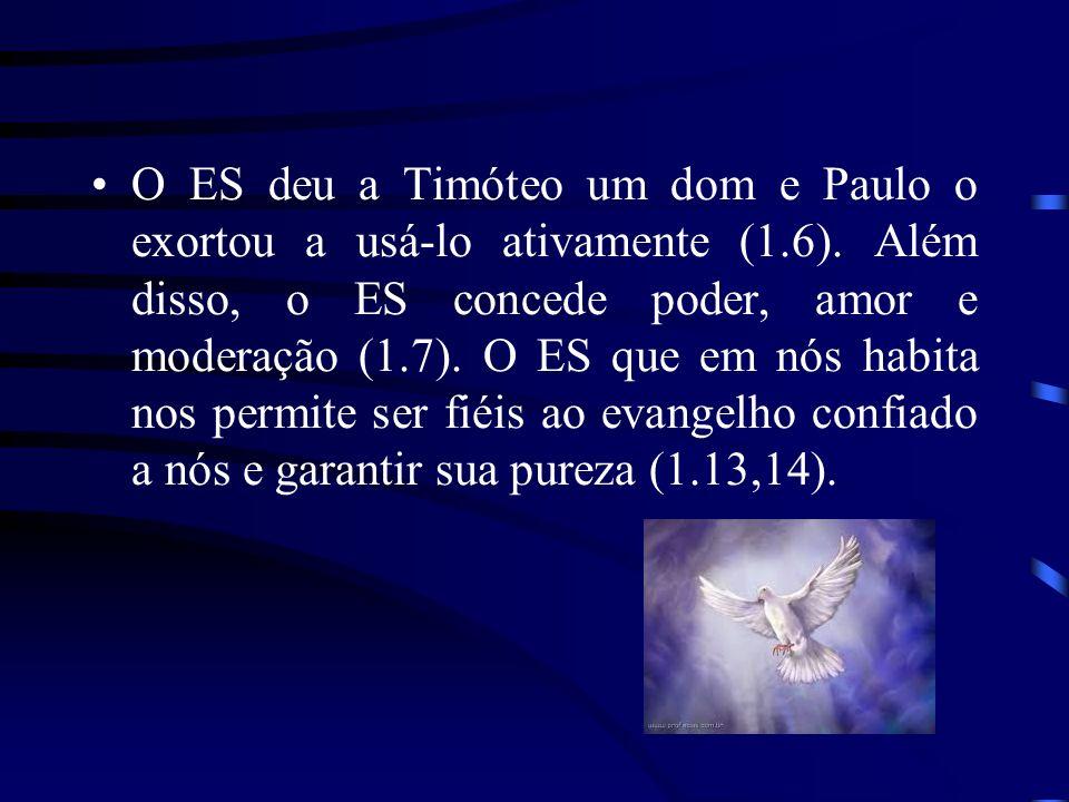 O ES deu a Timóteo um dom e Paulo o exortou a usá-lo ativamente (1. 6)