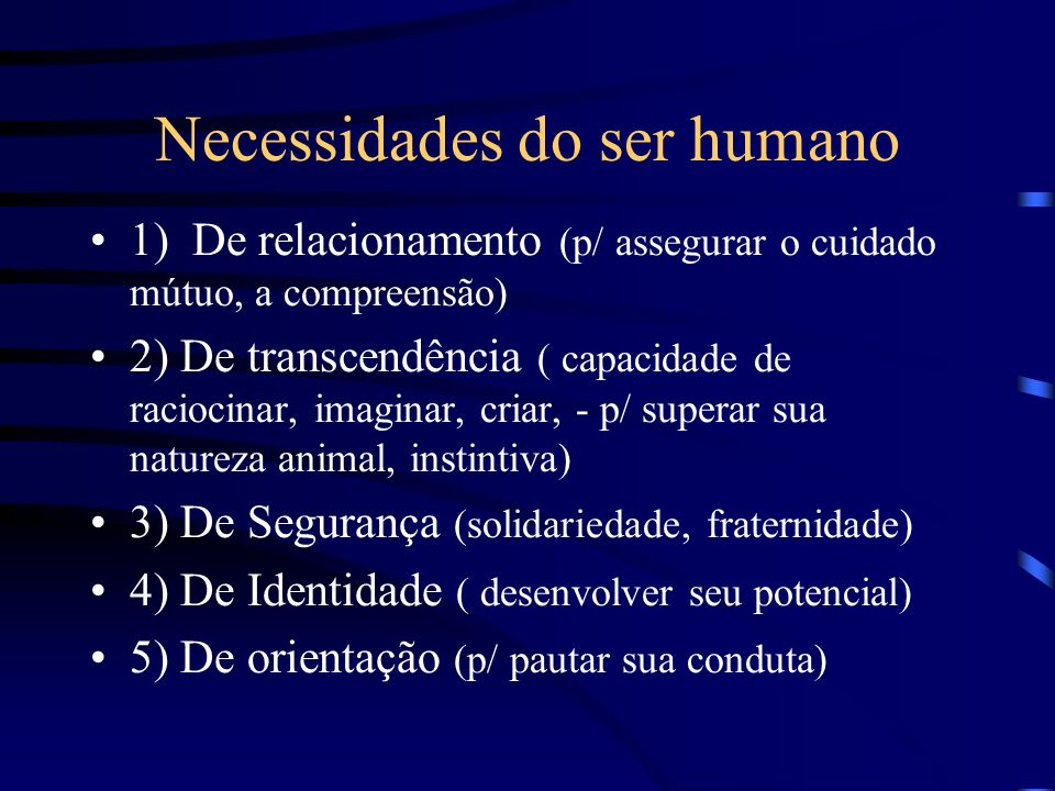 Necessidades do ser humano