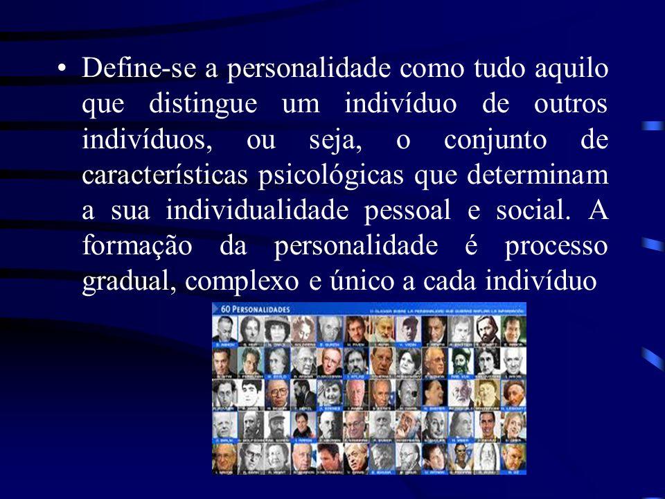 Define-se a personalidade como tudo aquilo que distingue um indivíduo de outros indivíduos, ou seja, o conjunto de características psicológicas que determinam a sua individualidade pessoal e social.