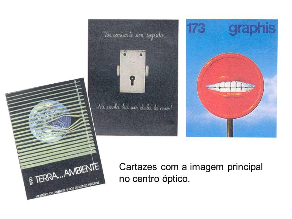 Cartazes com a imagem principal no centro óptico.
