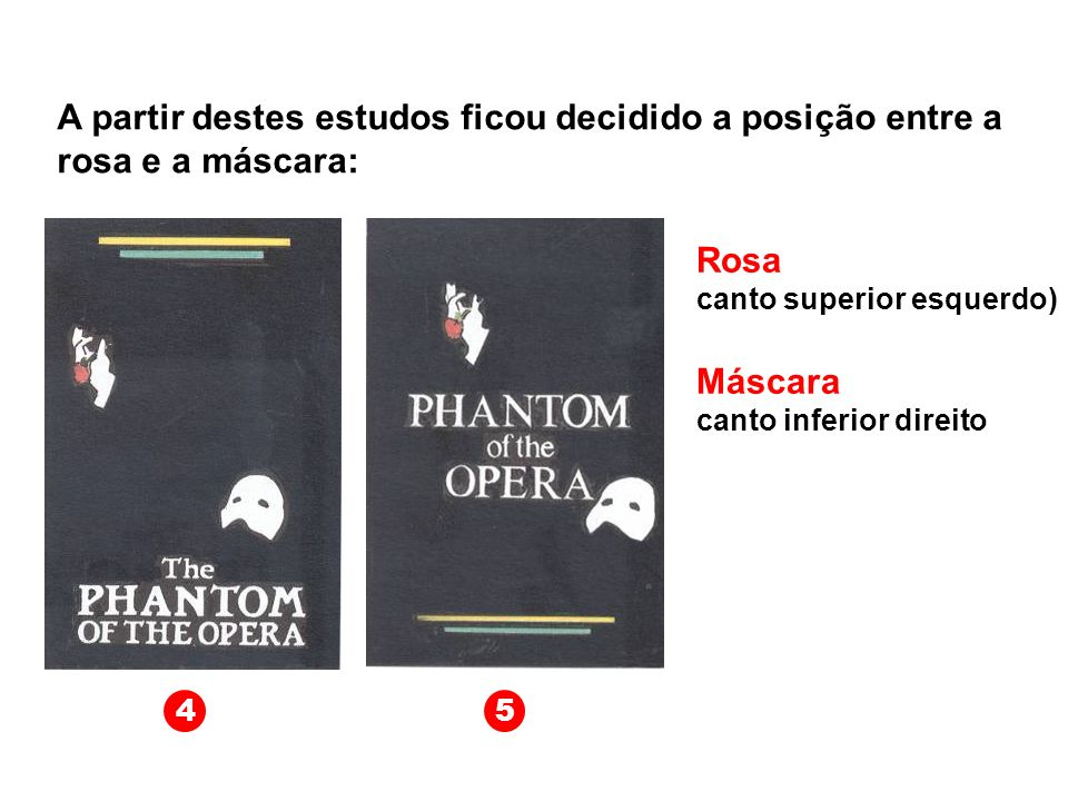 A partir destes estudos ficou decidido a posição entre a rosa e a máscara: