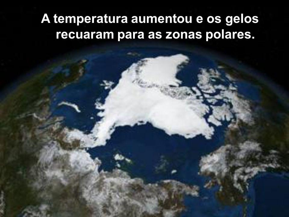 A temperatura aumentou e os gelos recuaram para as zonas polares.