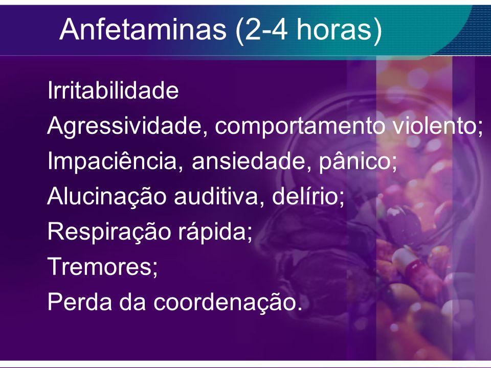 Anfetaminas (2-4 horas) Irritabilidade