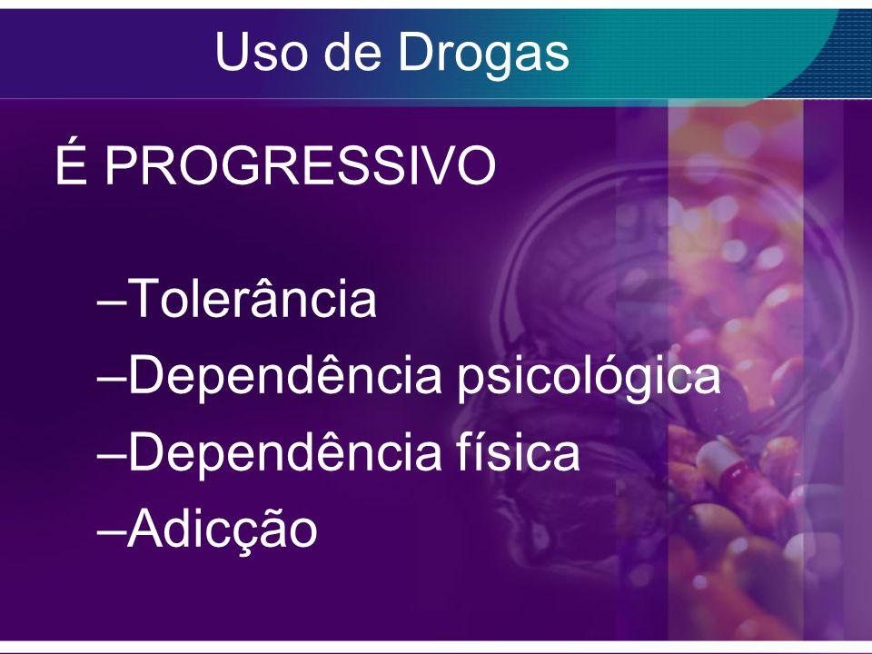 Uso de Drogas É PROGRESSIVO Tolerância Dependência psicológica Dependência física Adicção
