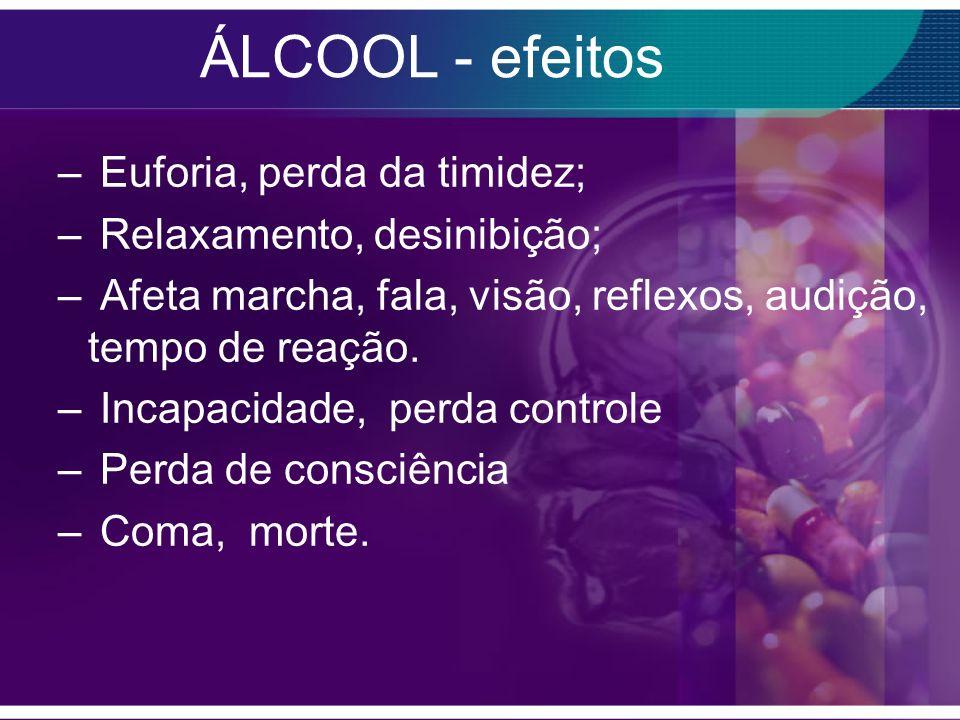 ÁLCOOL - efeitos Euforia, perda da timidez; Relaxamento, desinibição;