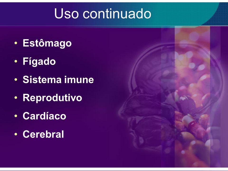 Uso continuado Estômago Fígado Sistema imune Reprodutivo Cardíaco