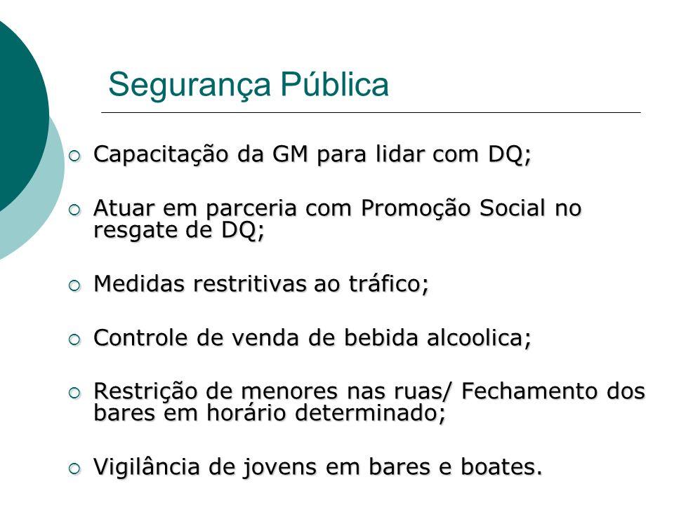 Segurança Pública Capacitação da GM para lidar com DQ;