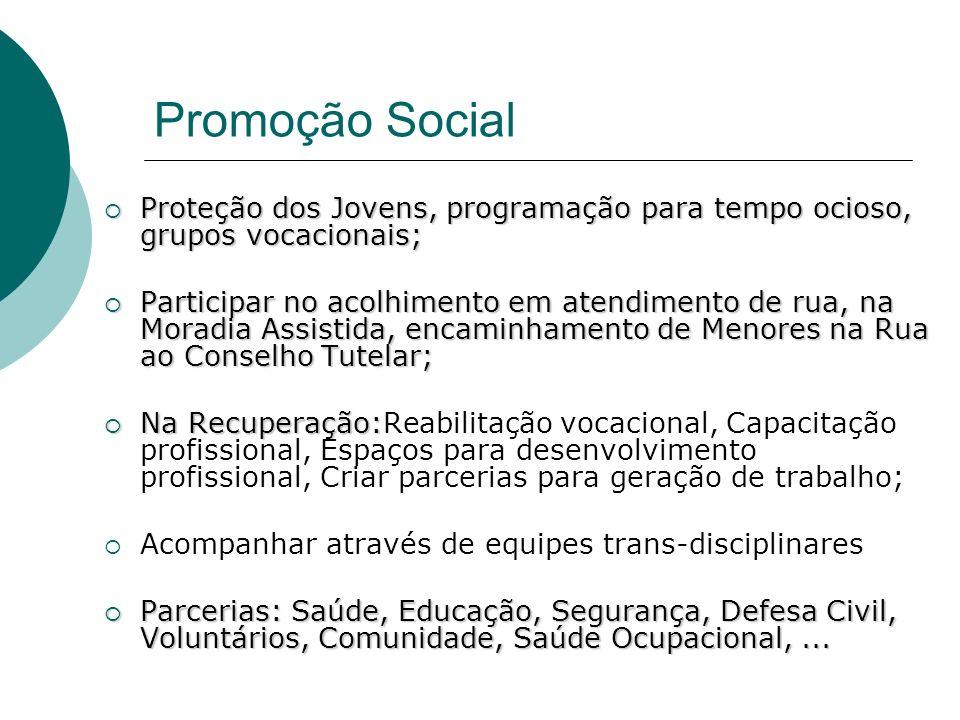 Promoção Social Proteção dos Jovens, programação para tempo ocioso, grupos vocacionais;