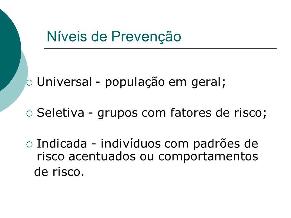 Níveis de Prevenção Universal - população em geral;