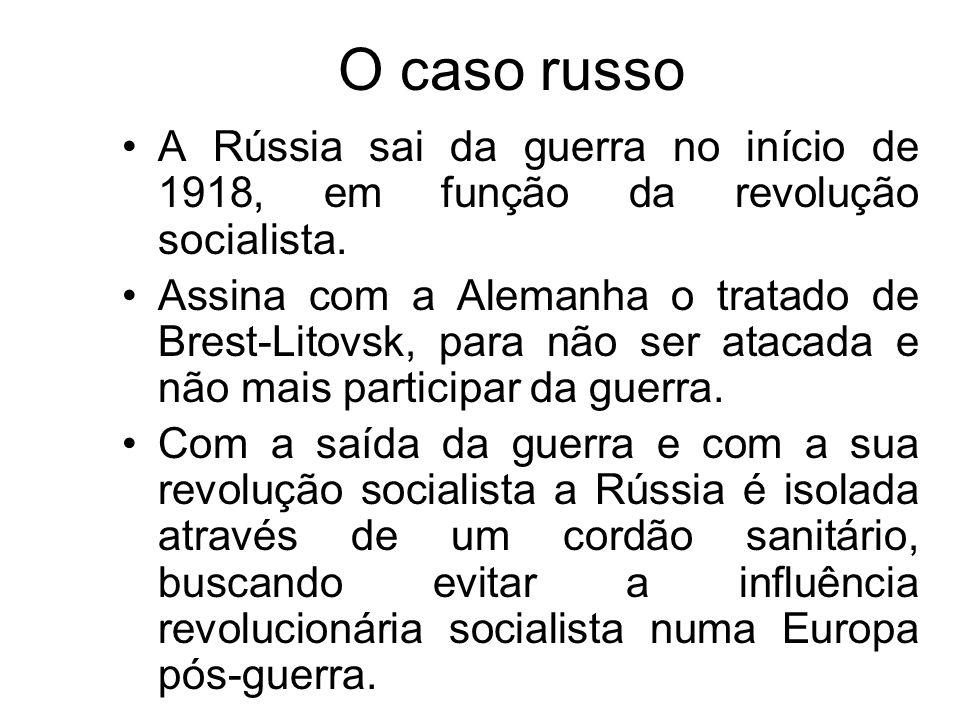 O caso russoA Rússia sai da guerra no início de 1918, em função da revolução socialista.