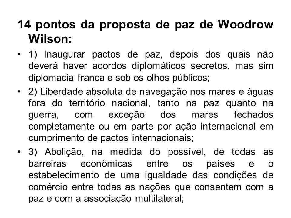 14 pontos da proposta de paz de Woodrow Wilson: