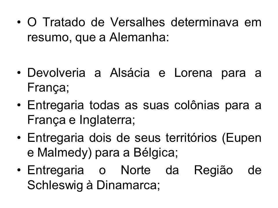 O Tratado de Versalhes determinava em resumo, que a Alemanha: