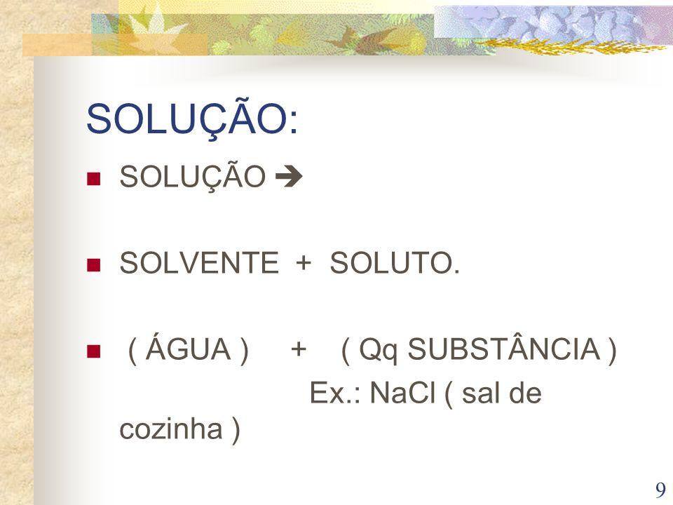 SOLUÇÃO: SOLUÇÃO  SOLVENTE + SOLUTO. ( ÁGUA ) + ( Qq SUBSTÂNCIA )