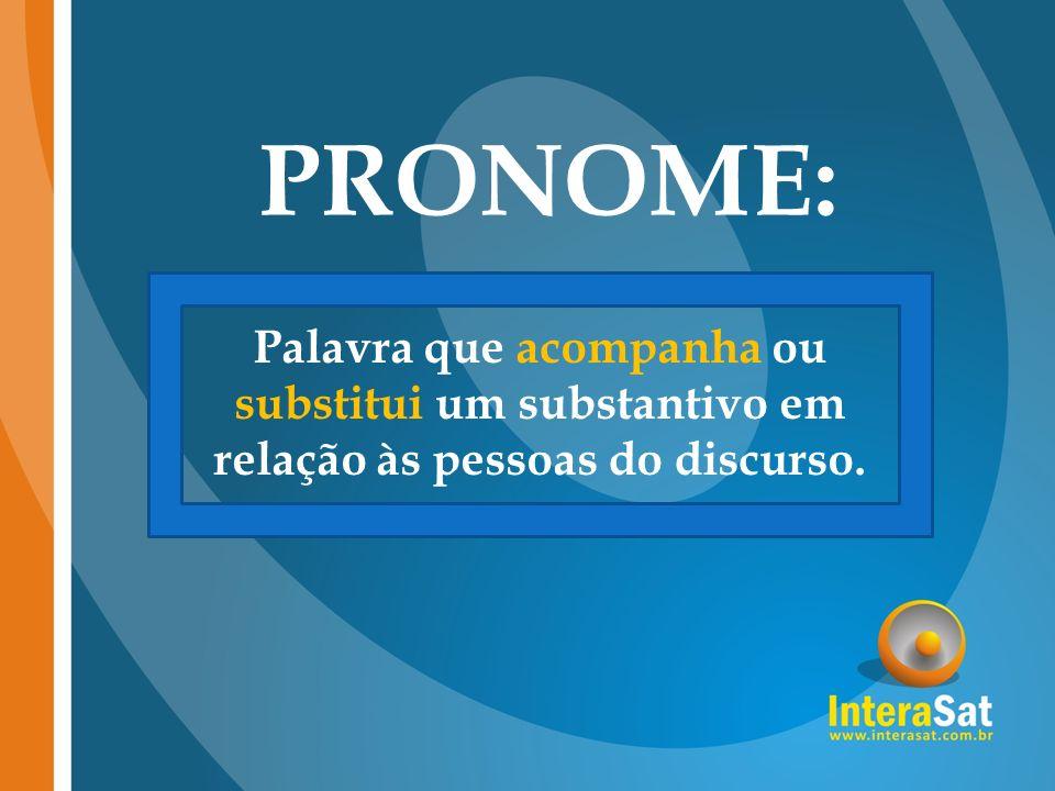 PRONOME: Palavra que acompanha ou substitui um substantivo em relação às pessoas do discurso.