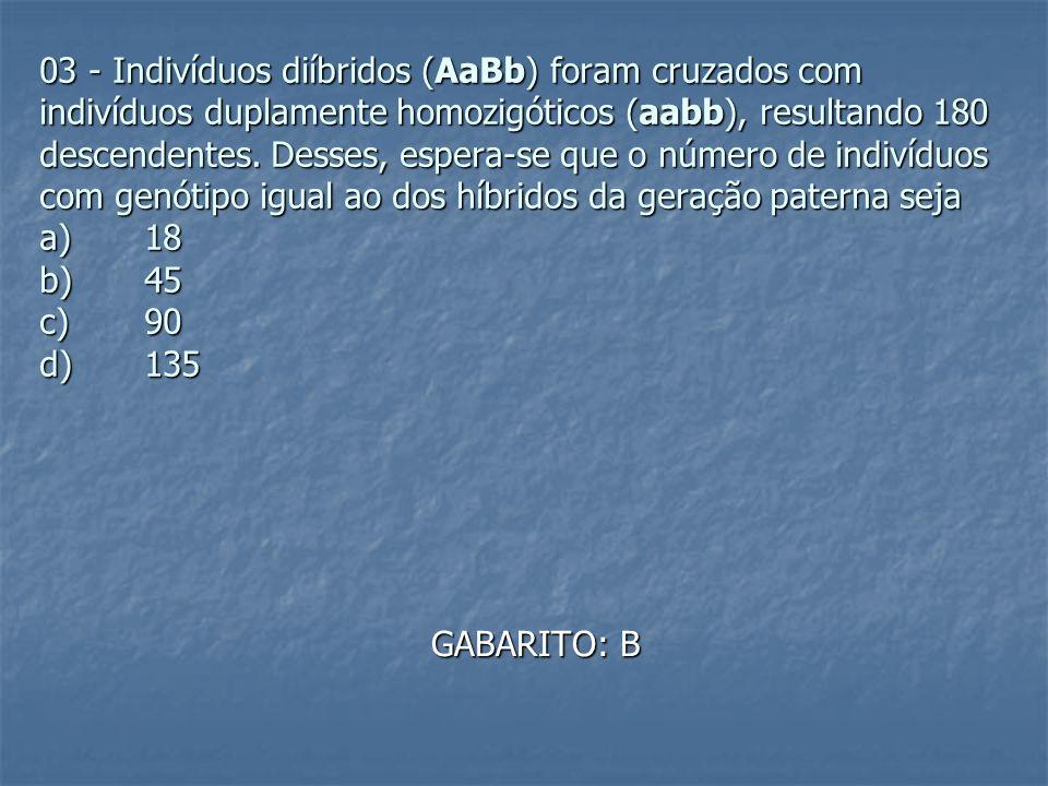 03 - Indivíduos diíbridos (AaBb) foram cruzados com indivíduos duplamente homozigóticos (aabb), resultando 180 descendentes. Desses, espera-se que o número de indivíduos com genótipo igual ao dos híbridos da geração paterna seja a) 18 b) 45 c) 90 d) 135