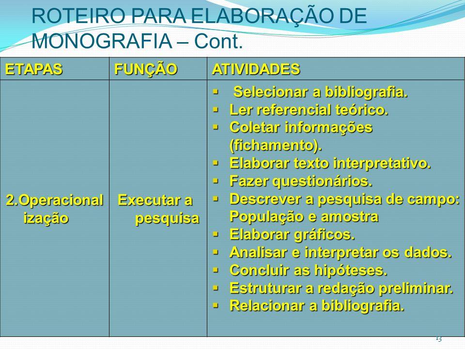 ROTEIRO PARA ELABORAÇÃO DE MONOGRAFIA – Cont.