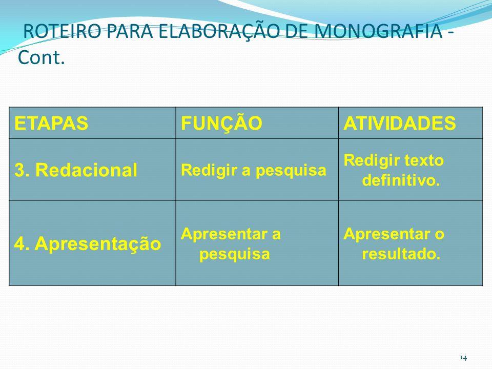 ROTEIRO PARA ELABORAÇÃO DE MONOGRAFIA - Cont.