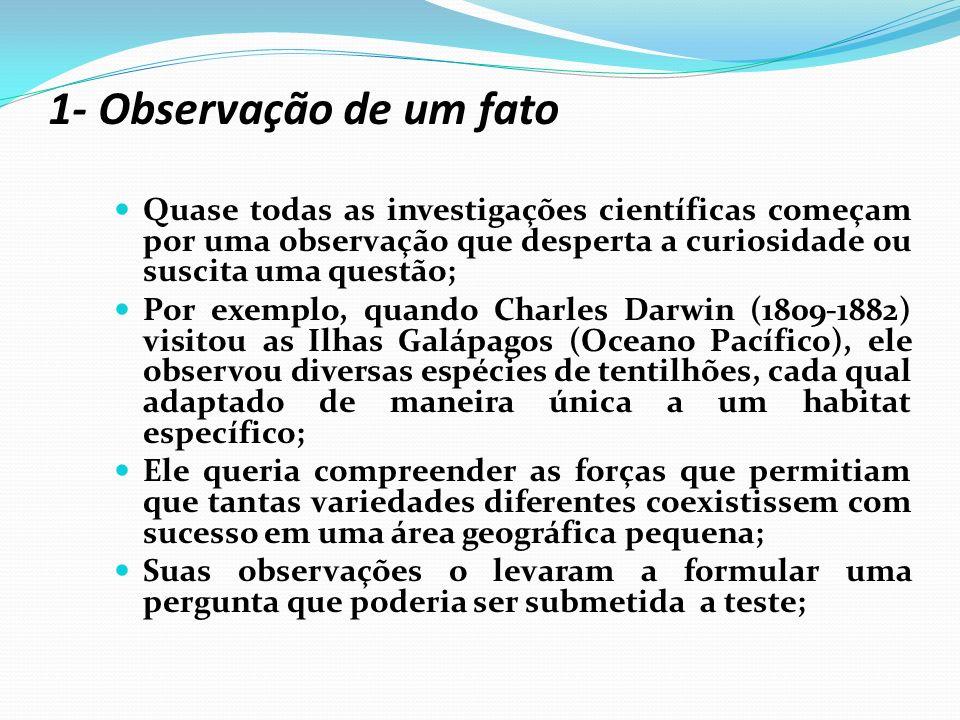 1- Observação de um fato Quase todas as investigações científicas começam por uma observação que desperta a curiosidade ou suscita uma questão;