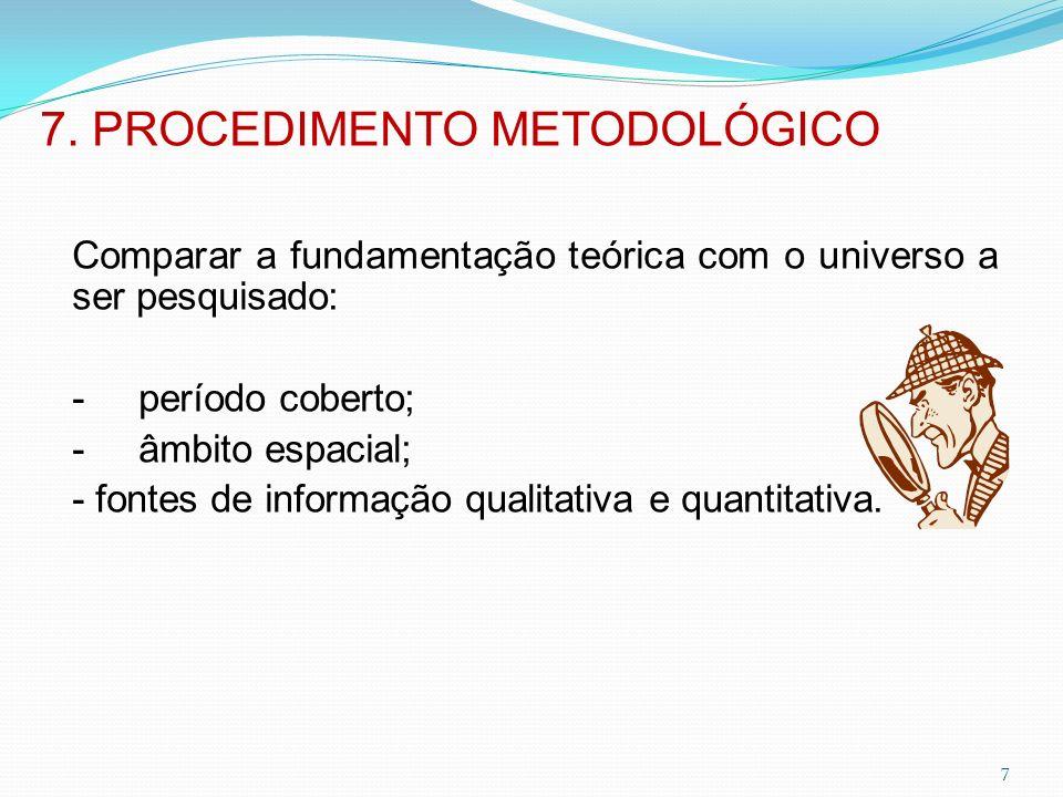 7. PROCEDIMENTO METODOLÓGICO
